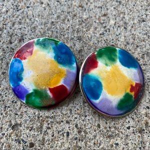 2/$16 Vintage Oversized Enamel Colourful Earrings